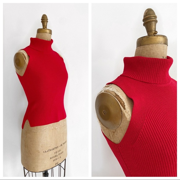 Italian knit red sleeveless turtleneck sweater.